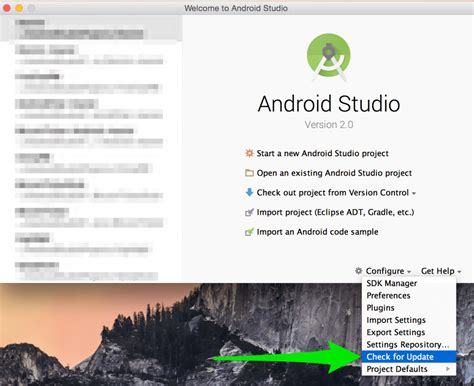 how to update android studio tutorial how to setup for android development