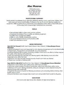 Resume Sles For Housekeeping Attendant Professional Housekeeper Room Attendant Templates To Showcase Your Talent Myperfectresume