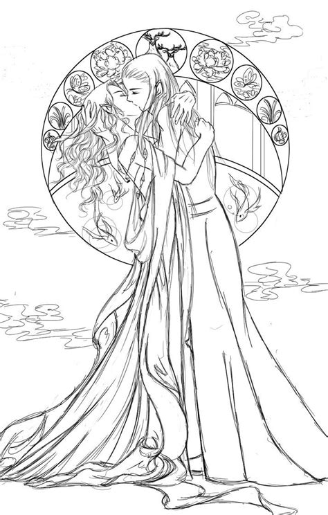middle earth coloring pages thranduil his wife middle earth elves pinterest