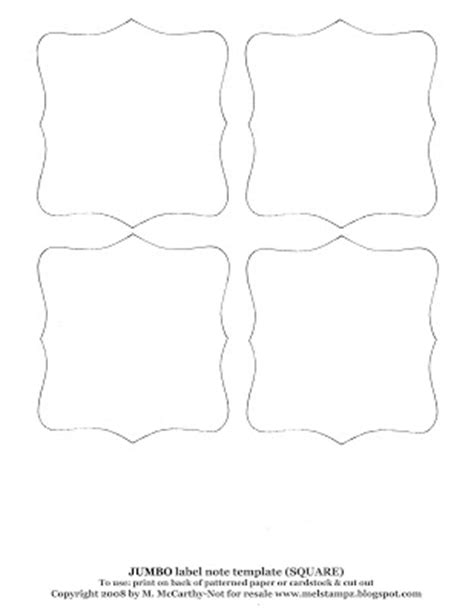 card shape templates mel stz square label or note shape templates some
