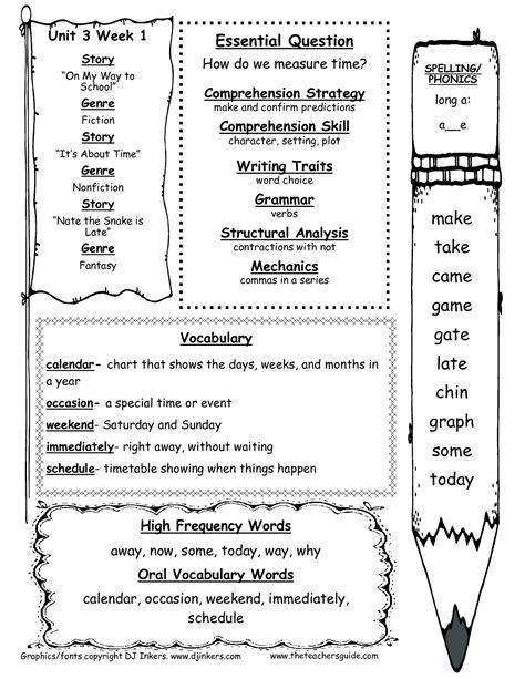 wonders first grade unit three week one printouts
