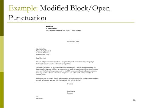 business letter block format open punctuation modified block style letter with mixed punctuation