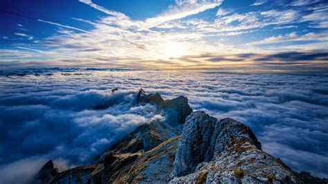 saentis mountains clouds view  top  hd nature