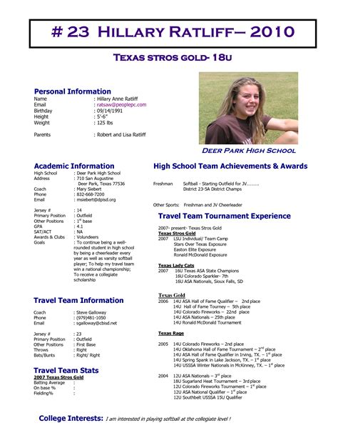 softball player profile template best photos of softball player profile softball player
