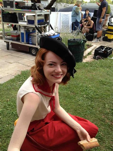 2013 film with emma stone first look at colin firth emma stone on set of woody