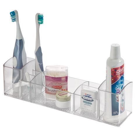 Bathroom Toothbrush Storage Interdesign Bathroom Tray Organizer Vanity Toothbrush Holder Toiletry Storage Ebay