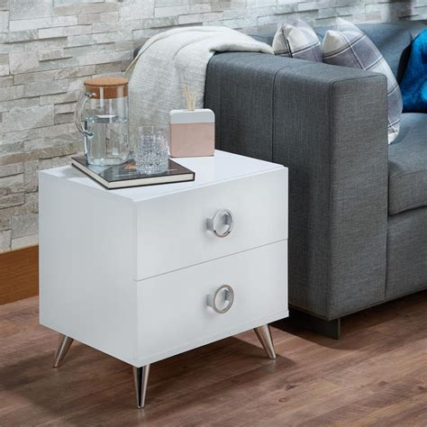 White Dresser And Nightstand Acme Furniture Elms 2 Drawer White Nightstand 97334 The Home Depot