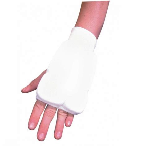Stamina Shin Guard Gold elasticated mitts white