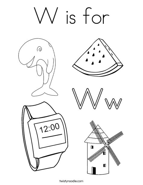 letter w coloring pages preschool w is for coloring page twisty noodle