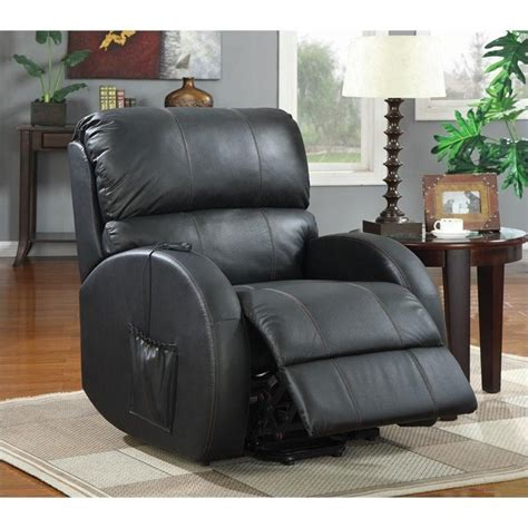 Coaster Power Lift Recliner by Coaster Leather Power Lift Recliner In Black 600416