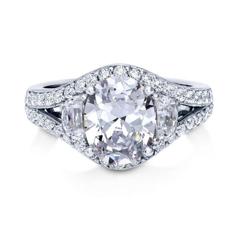cz deco engagement rings berricle sterling silver oval cut cz 3 deco