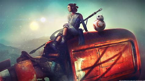 rey bb starwars artwork hd wallpapers hd wallpapers