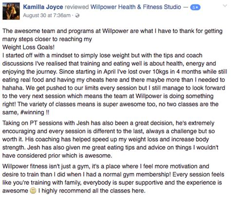 Testimonials Great Results Willpower Personal Training Clients Personal Trainer Testimonial Template