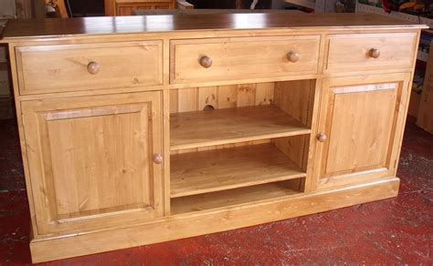 pine edwardian waxed tv media unit combination sideboard with 3 drawers and open shelving the