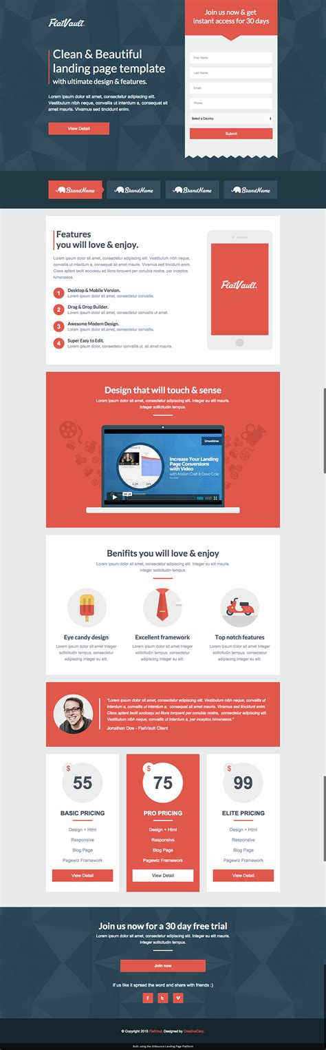 8 mobile friendly landing page templates designed with