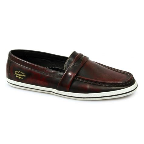 mens oxblood loafers penguin rufus mens leather loafers shoes oxblood buy