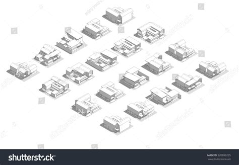 layout and density of building mass model 3d wireframe building process stock