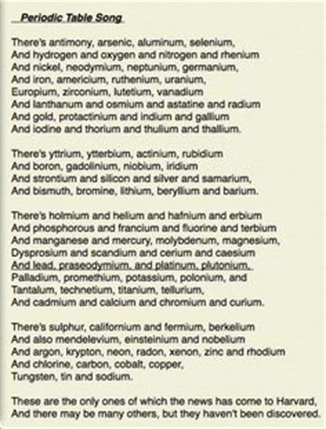 periodic table lyrics printable periodic table song ideas periodic table