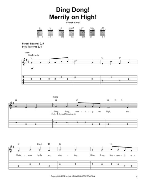 printable lyrics for ding dong merrily on high ding dong merrily on high sheet music by french carol