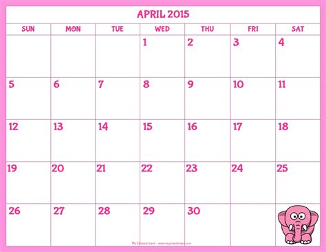 Calendar 2015 Printable April 8 Best Images Of Free Printable Calendar Templates