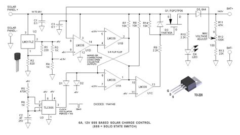 solar battery charge controller circuit diagram 12v solid state switch solar charge