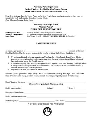Permission Letter For Going To Picnic Fillable Nphs Senior Picnic Permission Slip Newbury Park High School Fax Email Print