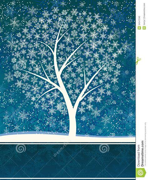 winter tree snowflakes stock vector winter card of snowfall with snow tree stock photo image 34547240