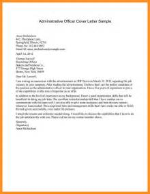 formal cover letter sle 8 application letter for administrative officer mystock