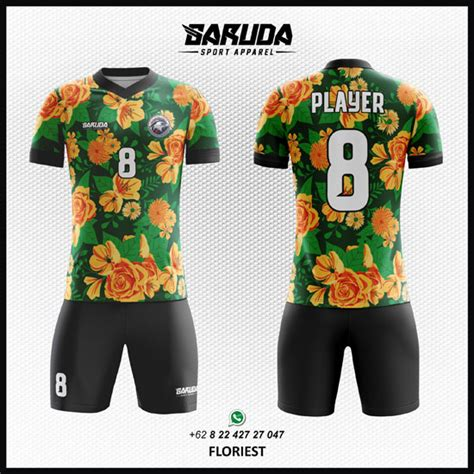 Desain Baju Futsal Motif Bunga | desain baju futsal bola floriest motif bunga garuda