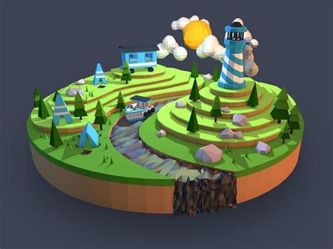 simple voxel floating island blender 3d youtube cland illustration illustrations pinterest style