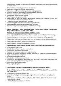 Piping Field Engineer Cover Letter by Piping Field Engineer Sle Resume