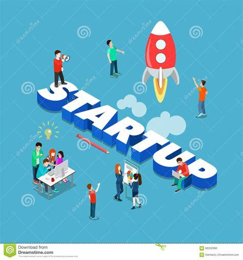 free illustration startup start up business start startup spaceship launch flat 3d isometric big word