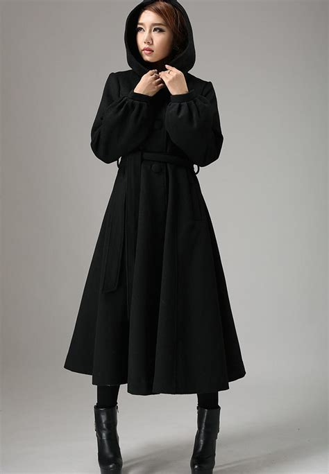 womens swing coat wool maxi wool coat long sleeve womens long swing coat with hood