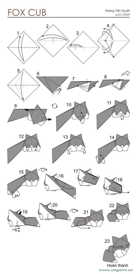 Origami Fox Diagram - origami best origami fox ideas on origami renard origami