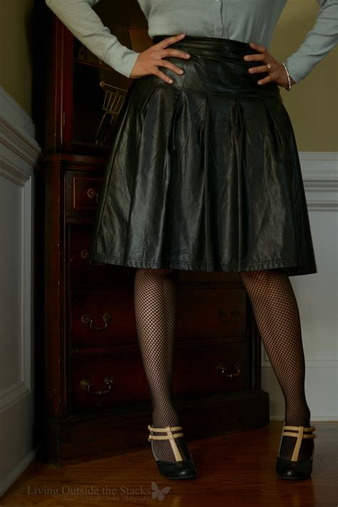 Ve Skirt jeweled cardigan and faux leather midi skirt living