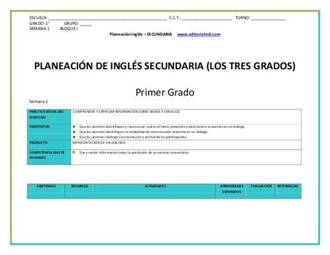 Planeacion Semanal Ingles De Segundo De Secundaria Ensayos | planeacion ingles secundaria 1 2 y 3er grado