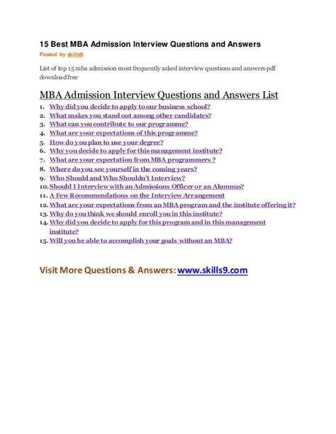 Questions To Ask Admission Committee Mba by 15 Best Mba Admission Questions And Answers