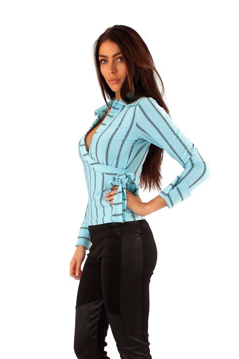 Blouse 7 8 Sleeves new sleeve wear stripy top warp collared shirts 8 14 ebay