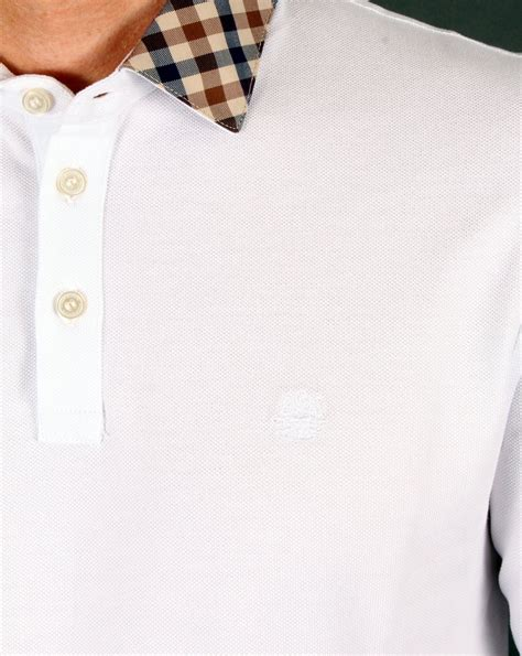 Nathan Shirt aquascutum nathan check collar polo shirt white sleeve mens