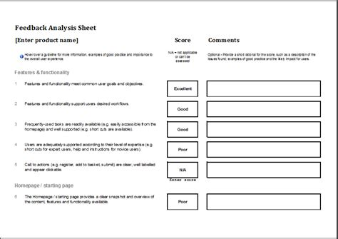 feedback template excel analysis worksheet worksheets for school getadating