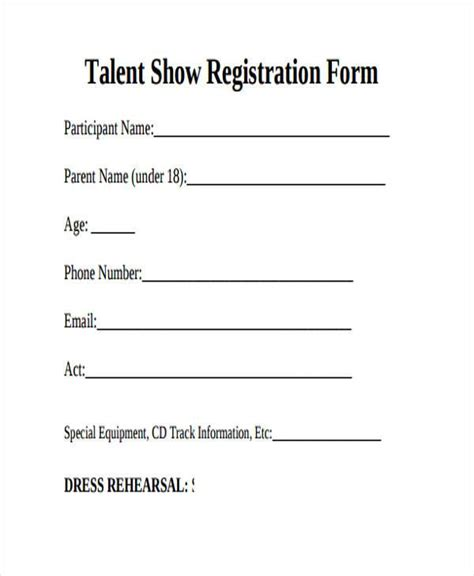talent show registration form template 28 images sle
