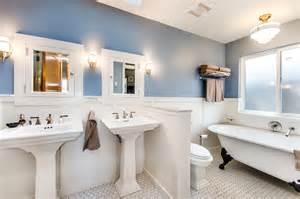 Double pedestal sink bathroom traditional with blue walls