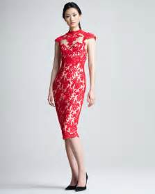 Marchesa lace cocktail dress in red lyst