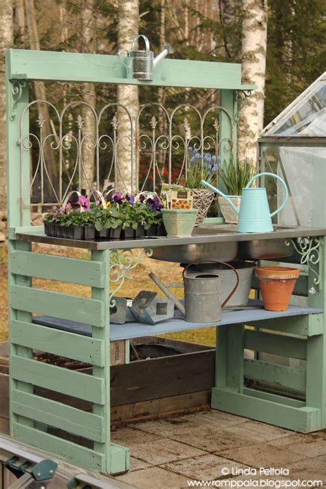 diy potting bench with sink diy garden potting table using pallets old sink romppala