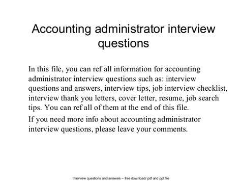 accounting administrator questions