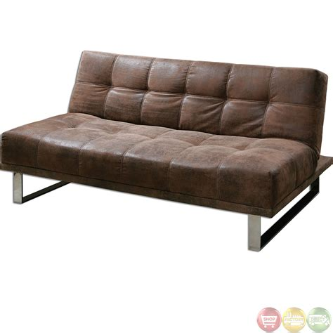 leather convertible sofa delvin brown synthetic leather convertible futon sofa 23145