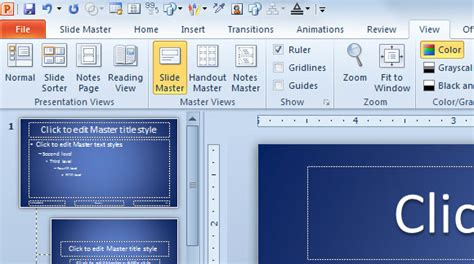 Using Slide Master View In Powerpoint 2010 Powerpoint Master Slide Templates