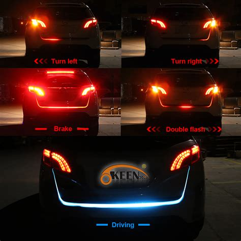 back lights on car okeen led trunk strip light with turn signals rear