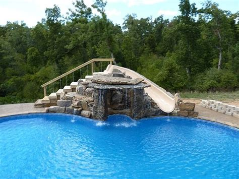 Backyard Pools With Rock Slides Built In Swimming Pool Slides Custom Waterfall And Slide