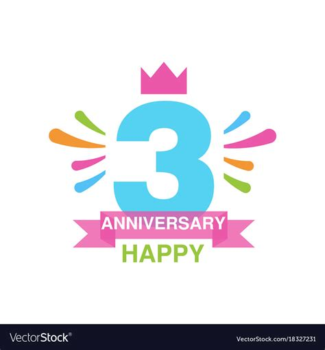 3rd anniversary images 3rd anniversary colored logo design happy vector image